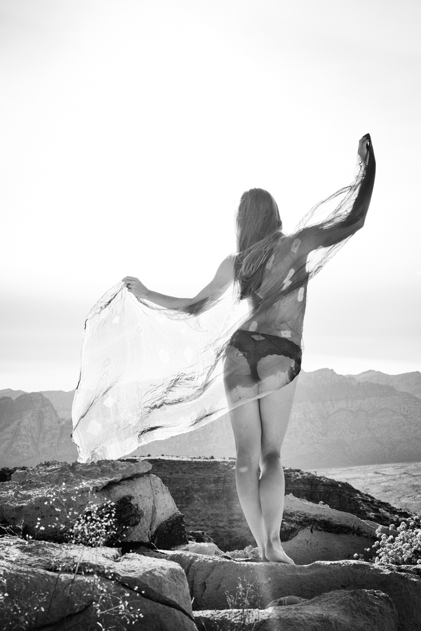 fine art boudoir photo of woman with vail