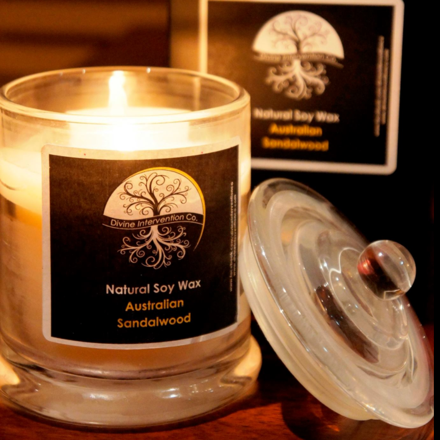 Divine Intervention - Made by a qualified aromatherapist, these soy wax candles are 100% natural, biodegradable, non-toxic and are hand poured, not made in large factories overseas such as most of the paraffin candles sold today.