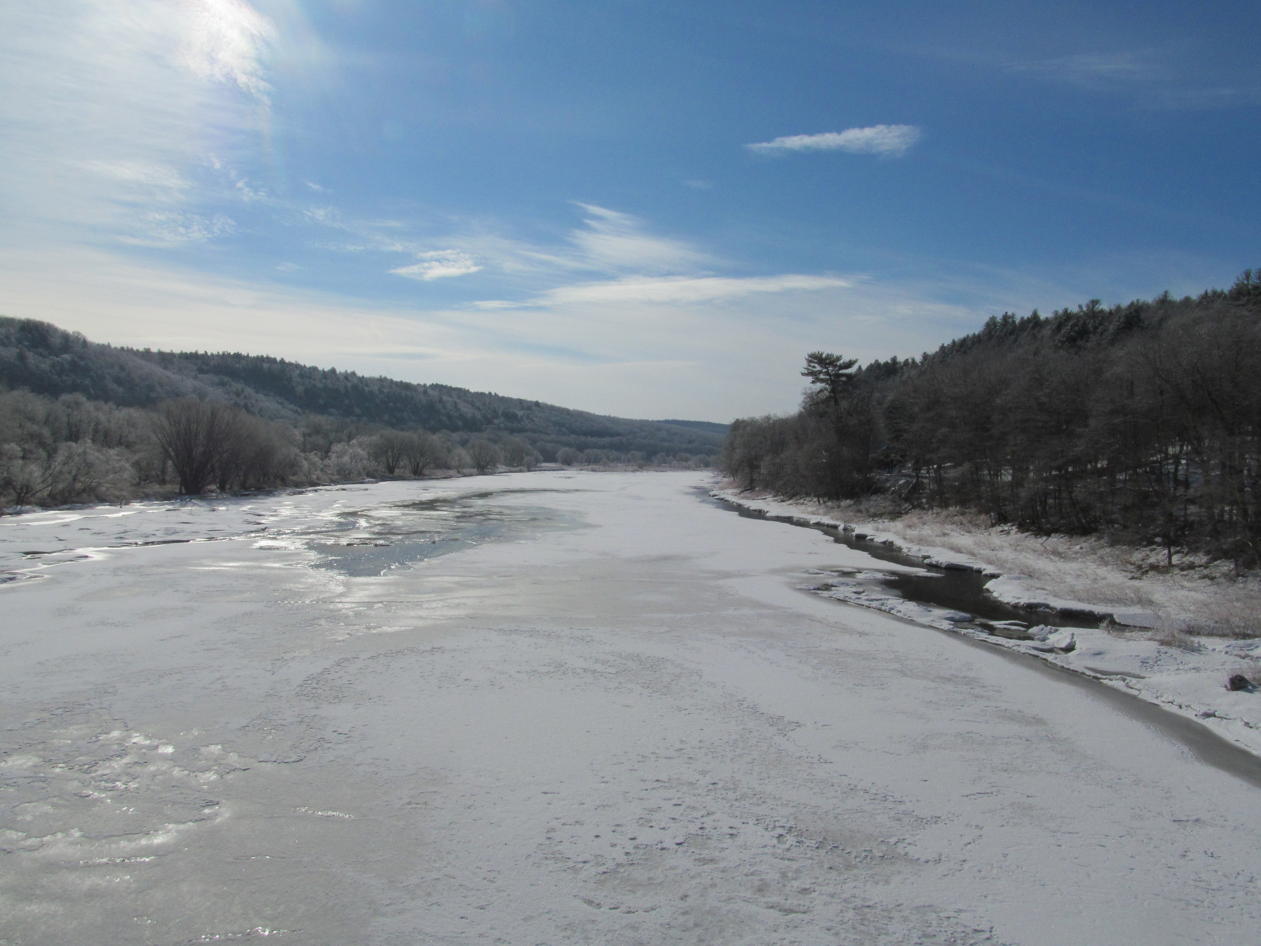 Delaware River at Damascus/CochectonBridge looking down river4/1/15