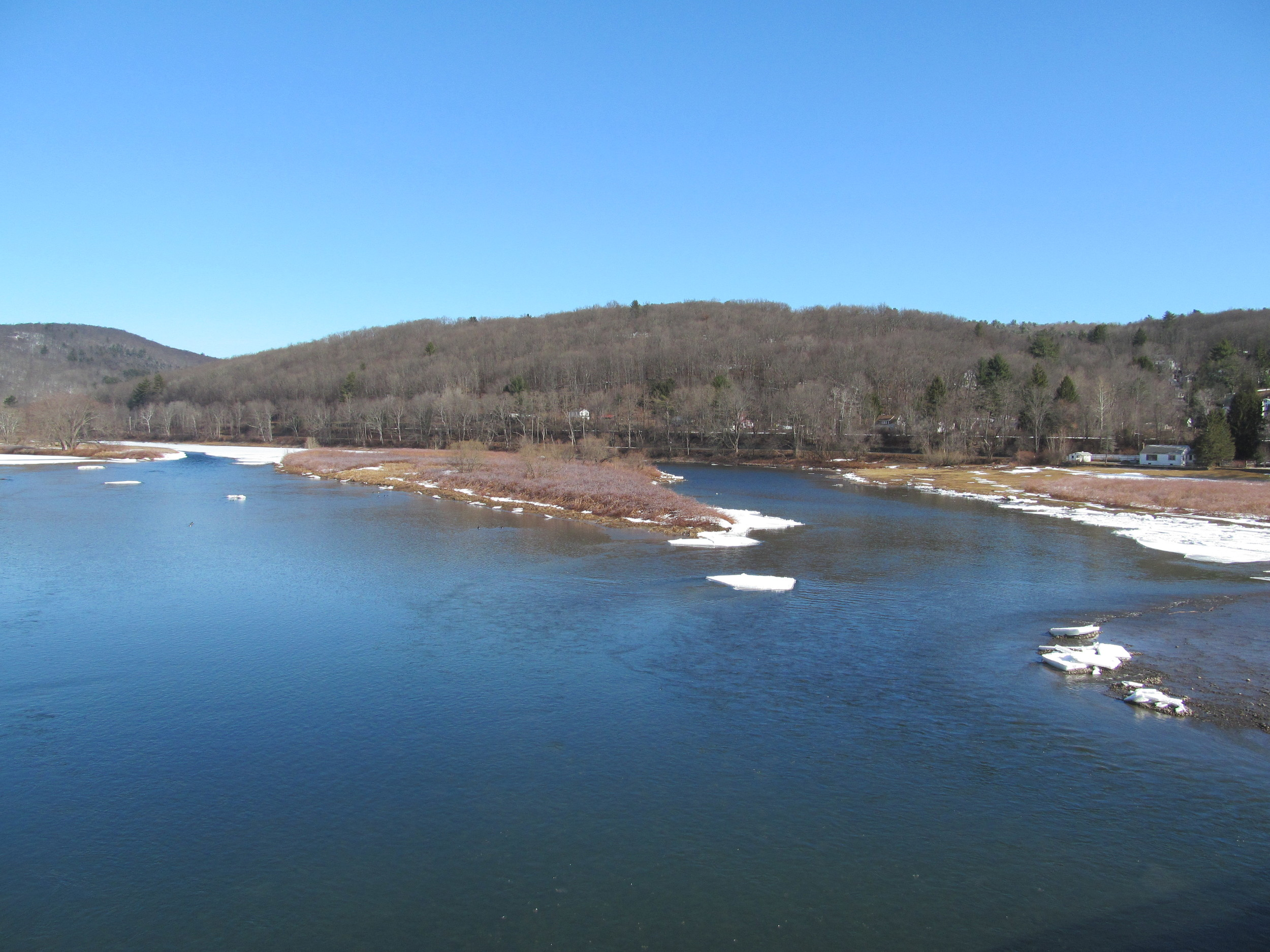 Delaware River at Callicoon, NY looking up river, here issomeopen water! 4/1/15