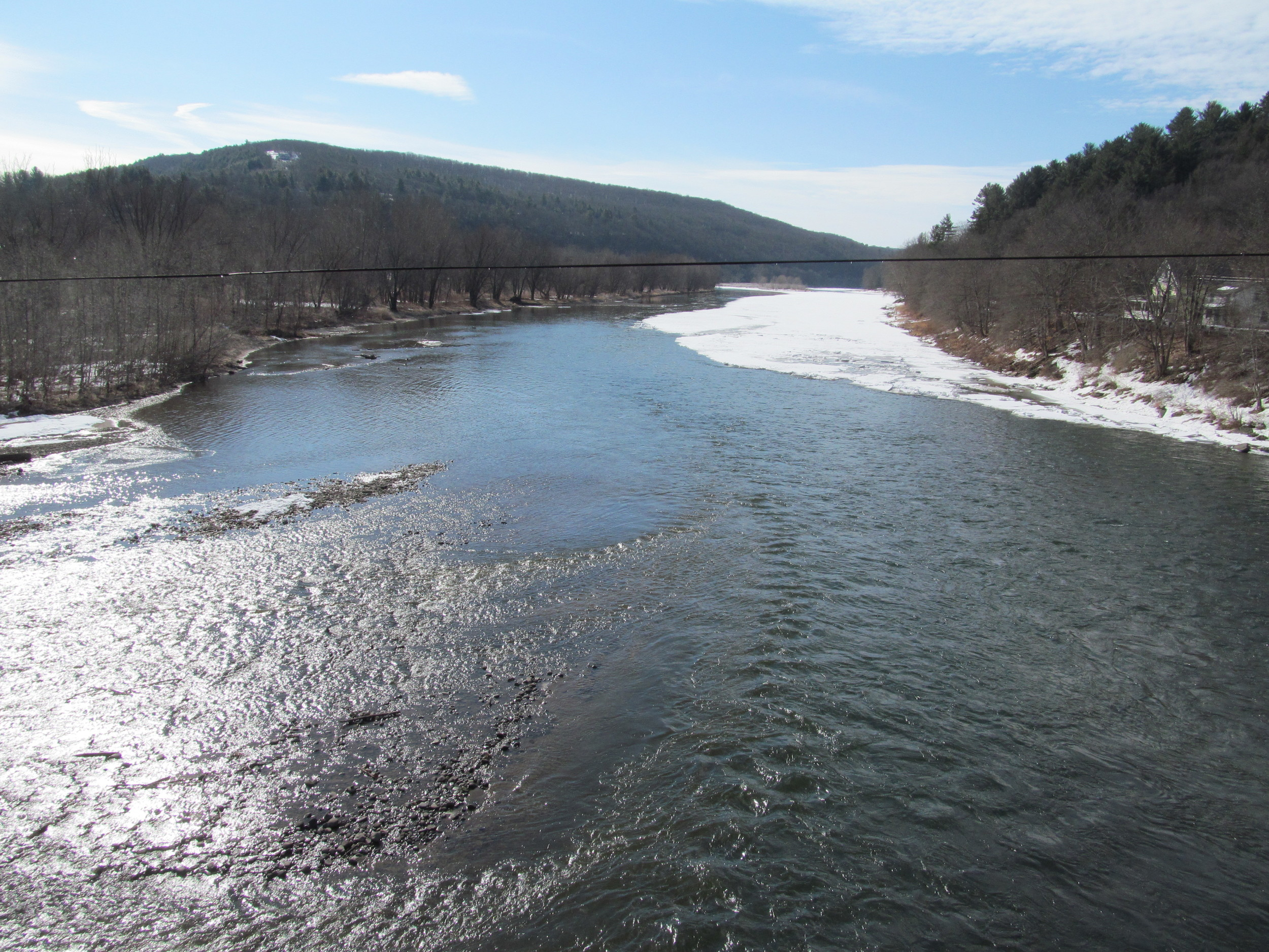 Delaware River, Callicoon, NY looking down river just below the Callicoon creek confluence. As you can see, the ice rebuilds just down river. 4/1/15