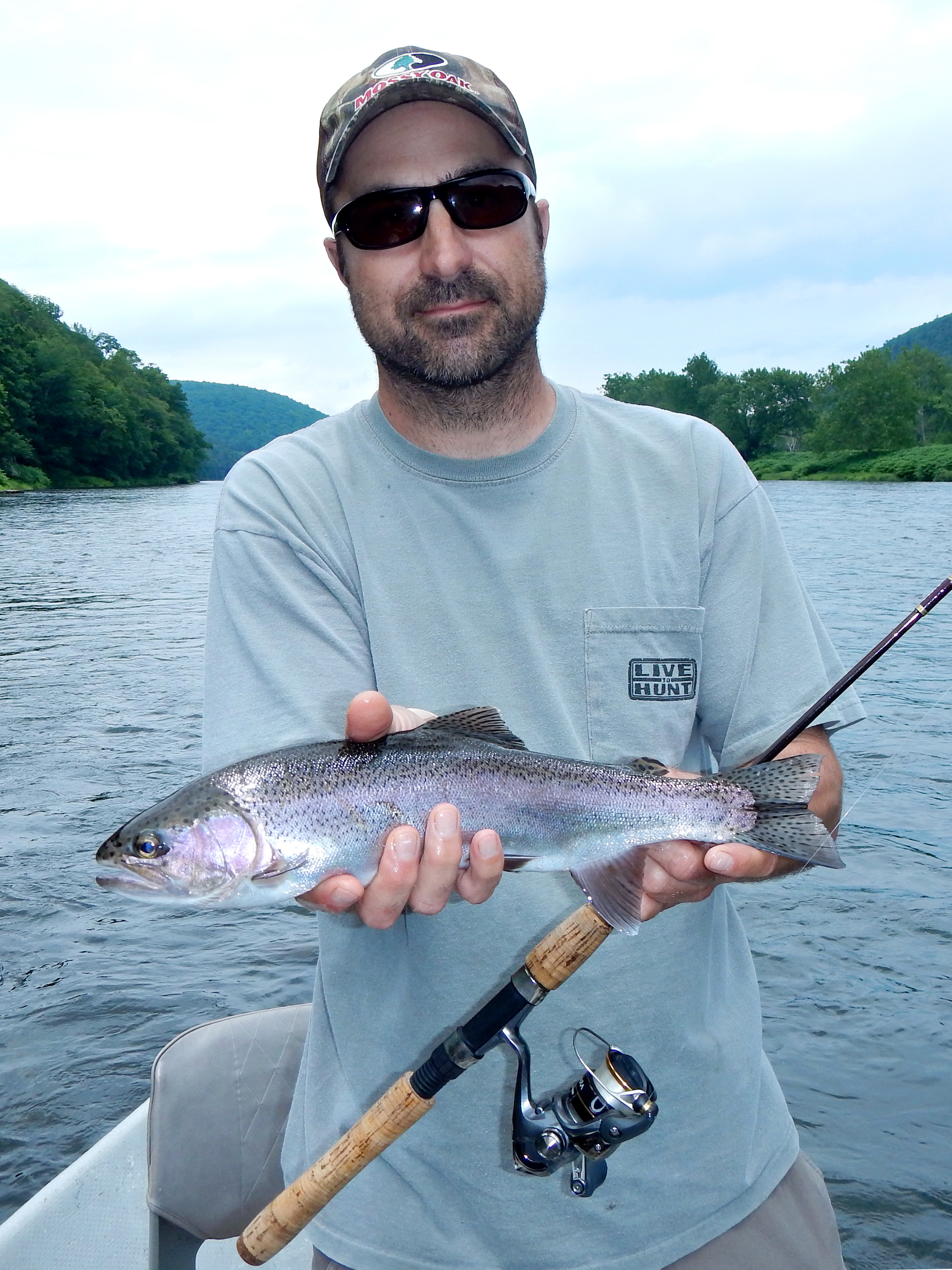 6/19/15 Ralph D. gets thiswild Delaware river rainbow trout! Beauty!