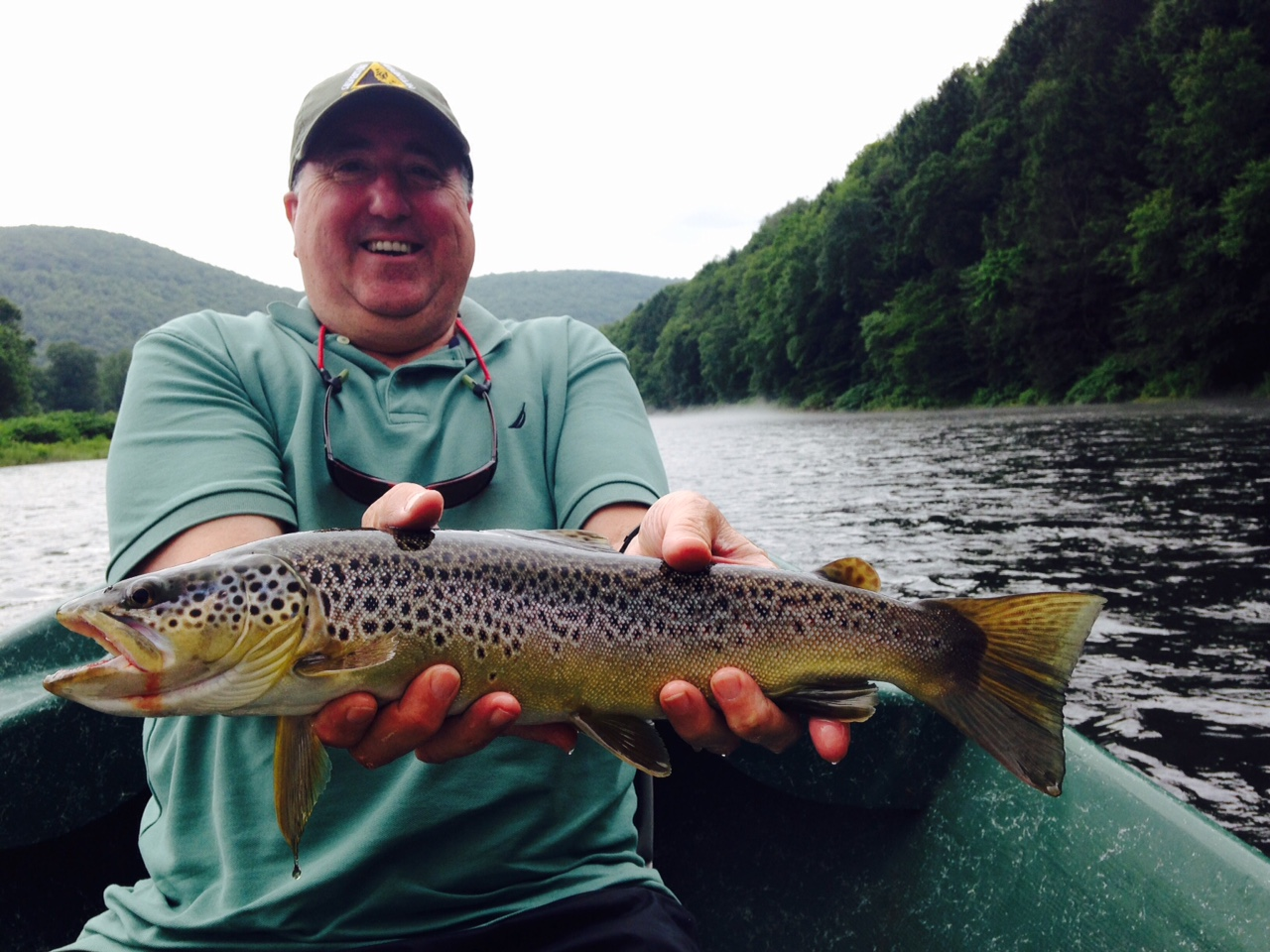 """7/7/15 Ed holding one of a few 18"""" Brown trout boated this day."""