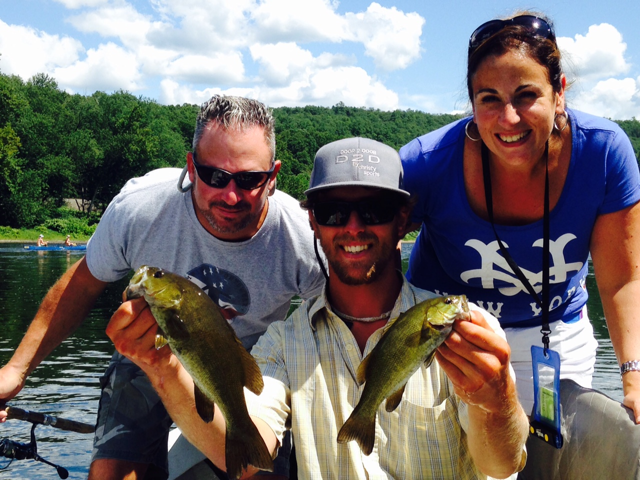 8/8/15  A Smallmouth Bass double for Sabrina and John!