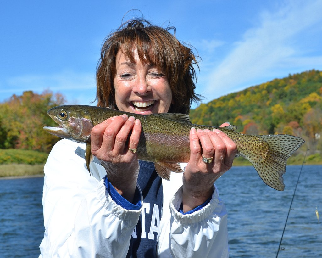10/10/15Sue L. joins the fun with her first Delaware River Rainbow trout!