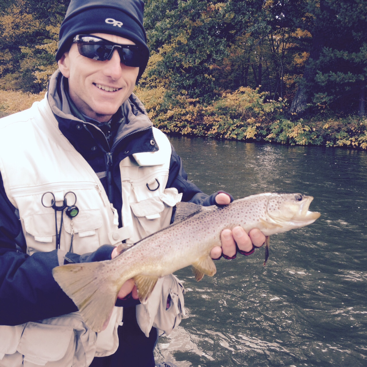 """10/17/15Brent B.lands a nice 18"""" West Branch Brown trout!"""