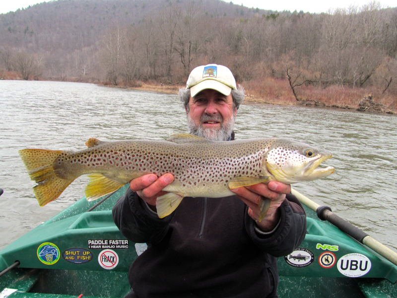 "Guide Mike P. with an early season two footer. 24"" Brown trout"