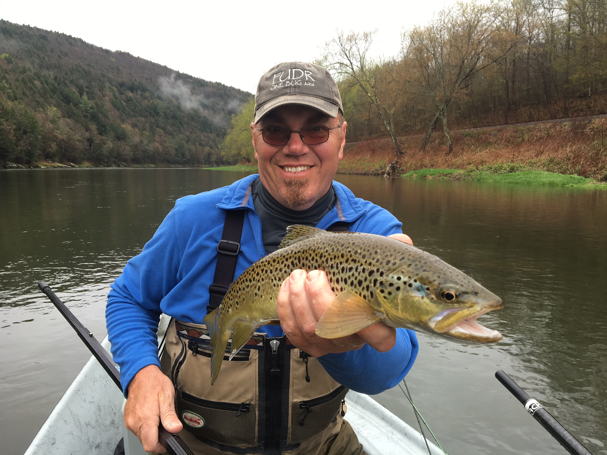 5/6/15 Guide Stefan S. boats a nice Brownie. Dry fly fishing has been good.