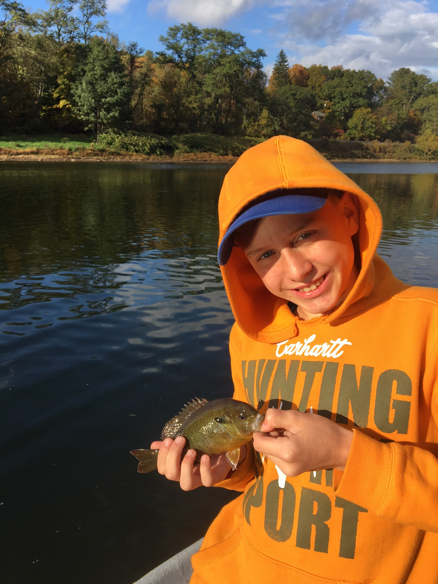 Joe of the Eldred Fishing Club with a river Sunfish.