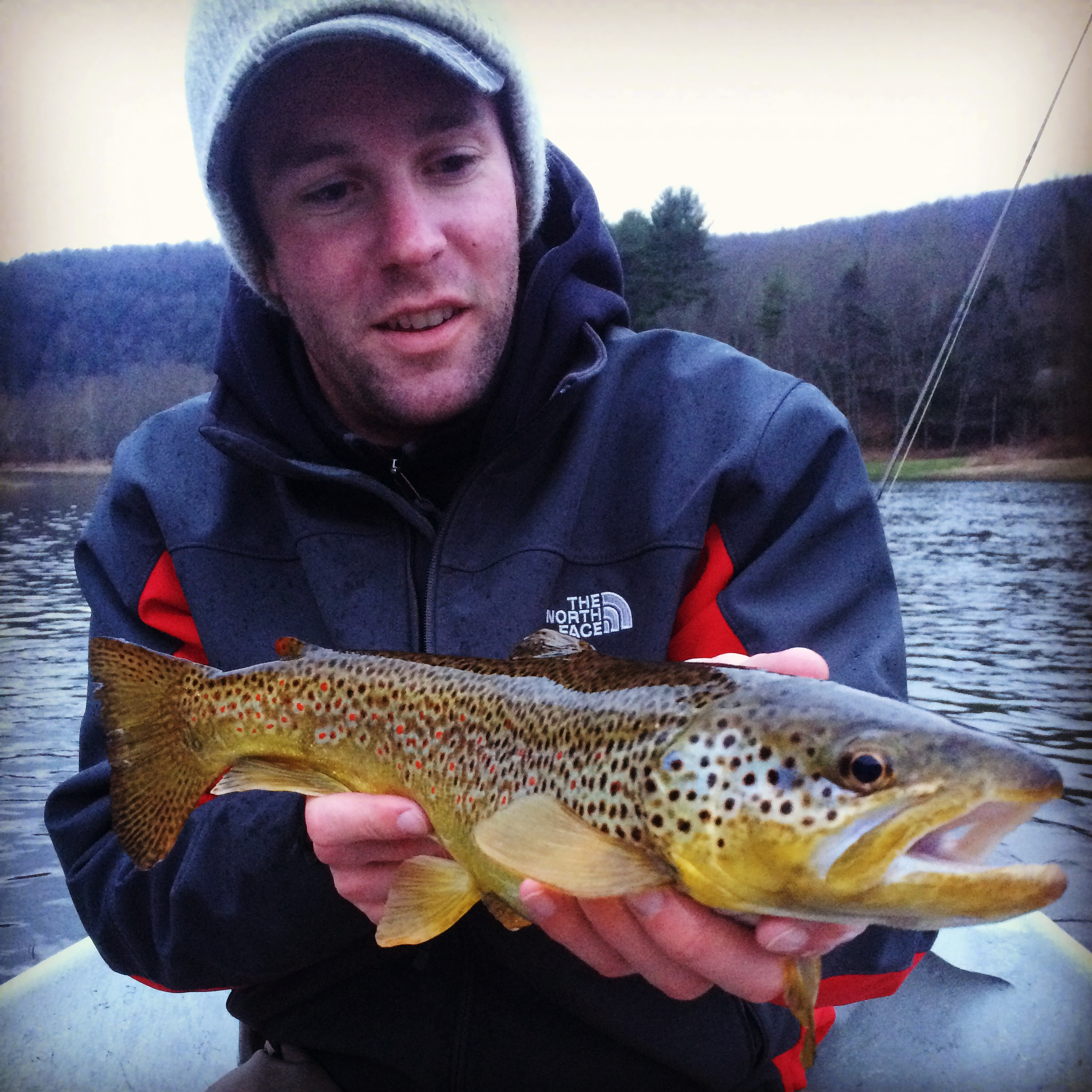 Kyle T. with a lovely Brown trout taken on his fly rod.