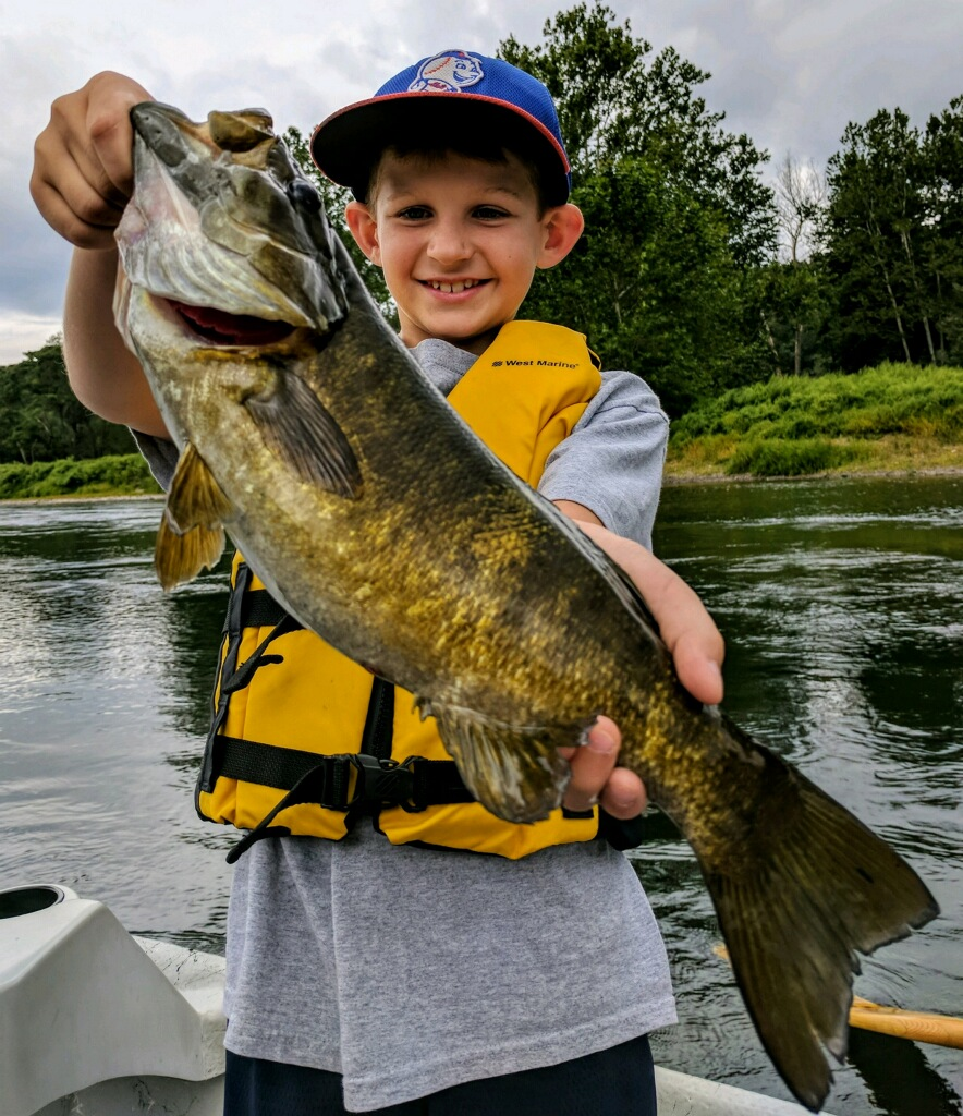 """Ryan with a beautiful 17"""" Smallmouth"""
