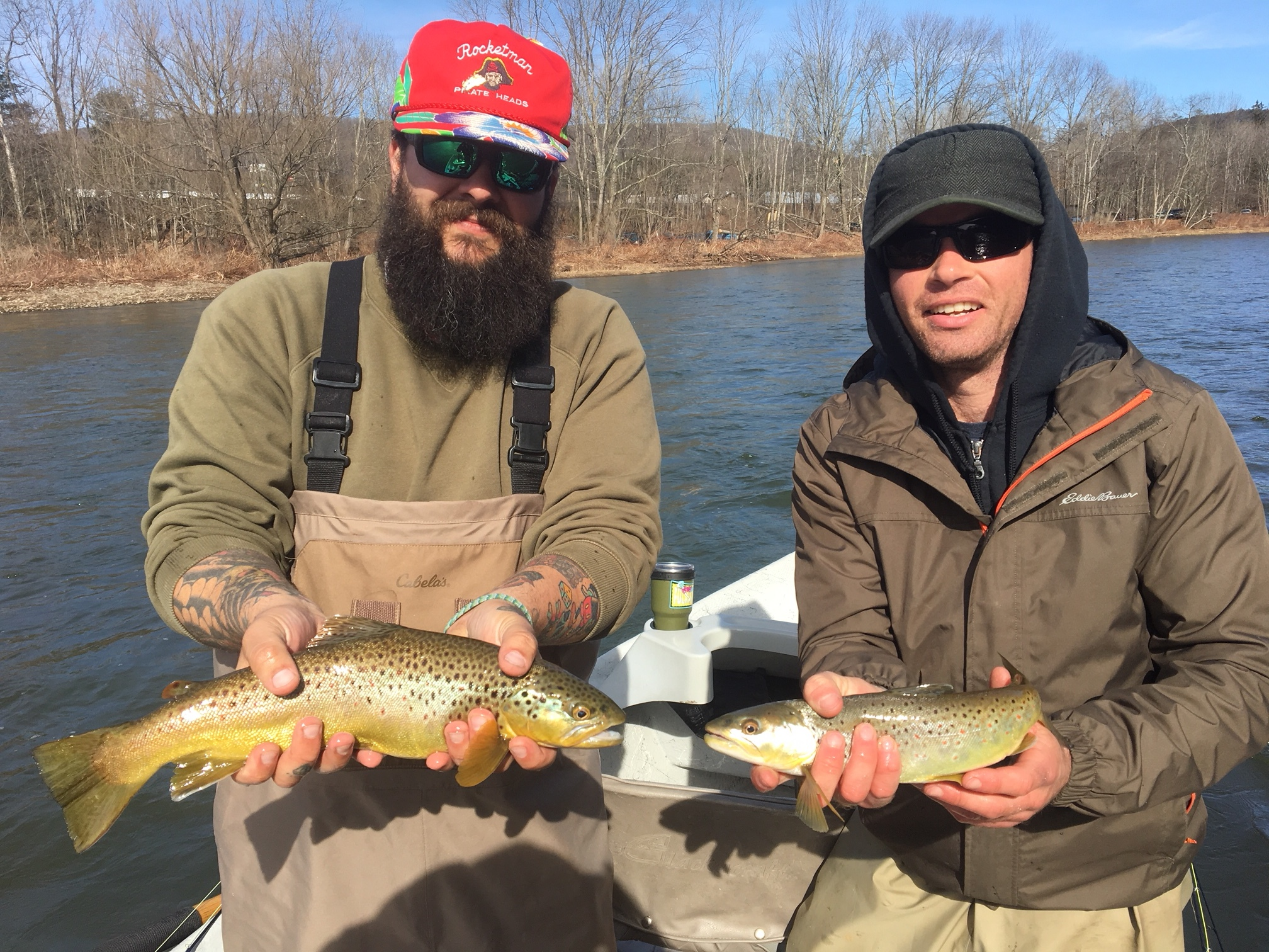 3/31/18  Larry and Ed slam a pair of Brown trout on the last day of March.