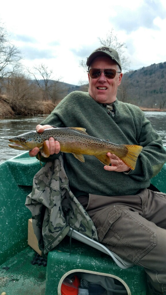 "4/9/19 Steve D. with a slender and beautiful 20"" Brown trout."