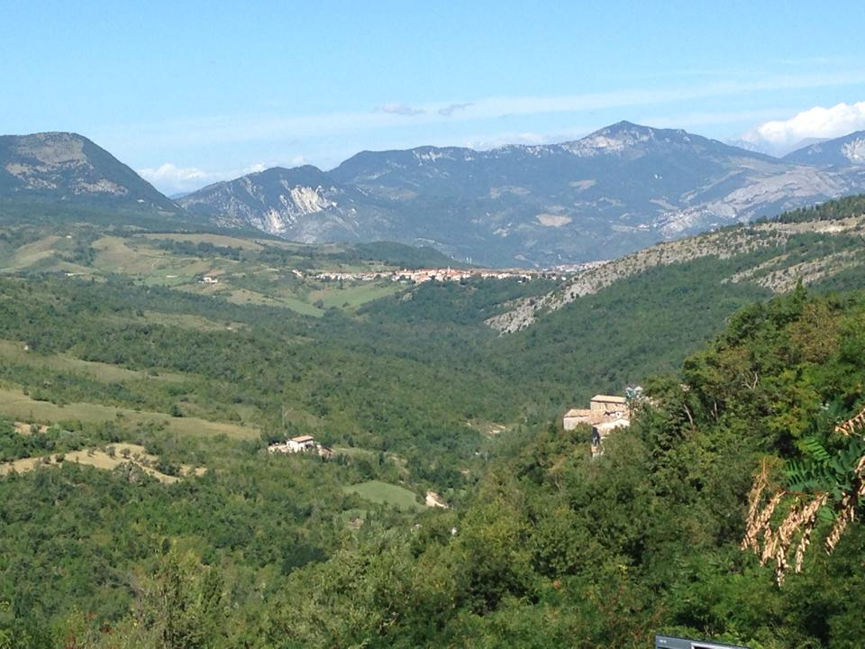 View of the valley from the main street of Caramanico. Ex-Convento di Clarisse, where we lived, worked and performed, is the cluster of buildings in the right foreground.
