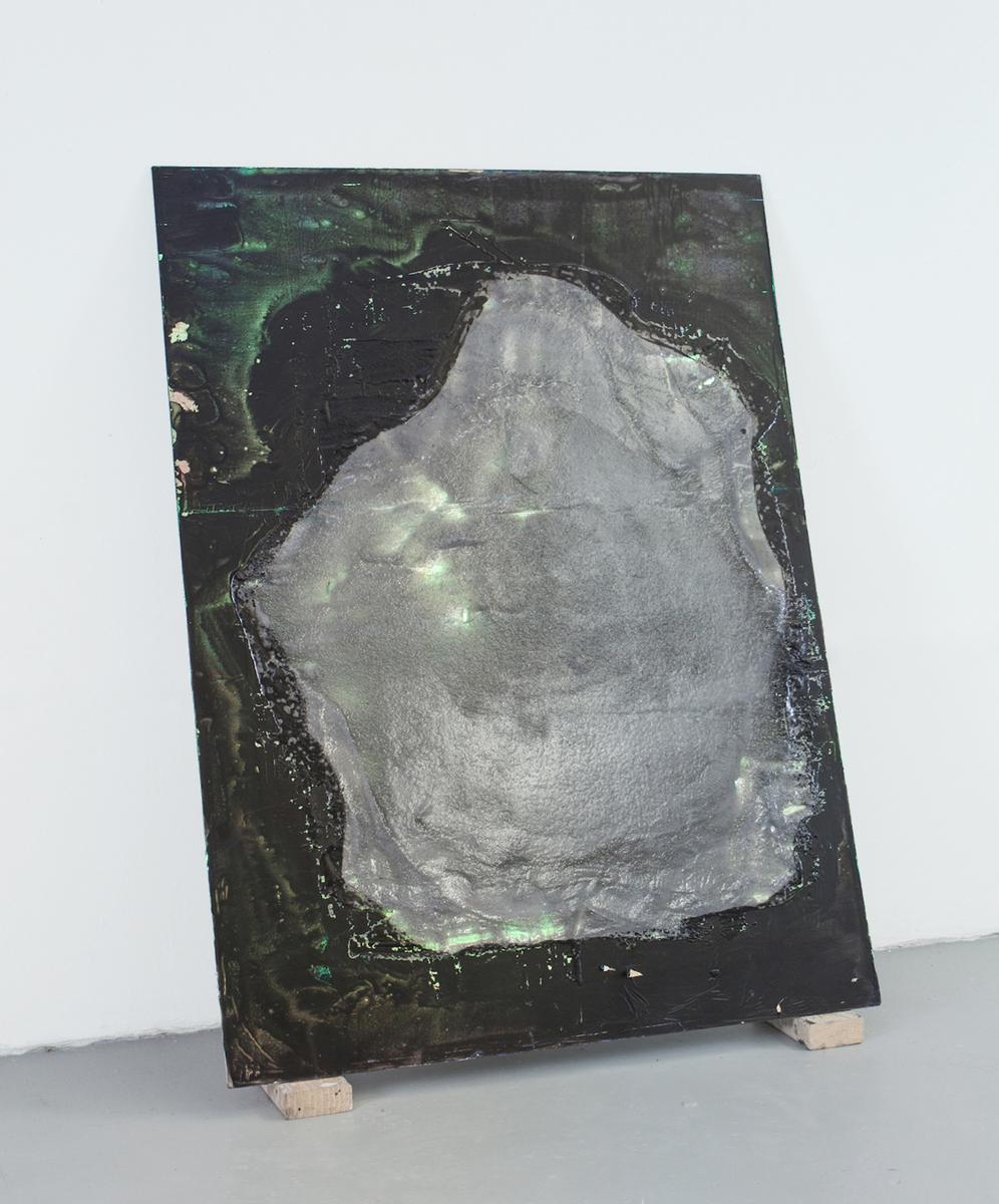 Static (Panel), 2016  Resin, graphite powder, paint, cellophane, wood panel. 3x4'