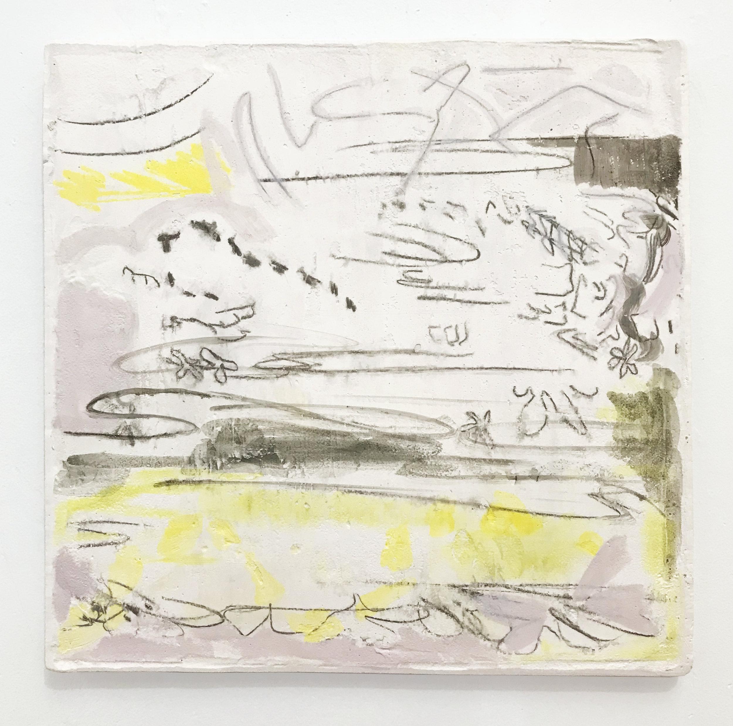 """Untitled (Soft landscape), 2019  Monoprint on hydrocal, oil paint, pigment. 12x12"""""""
