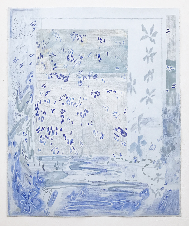 "Blue tiles, 2019  Graphite, ink, colored pencil. 20x30"""