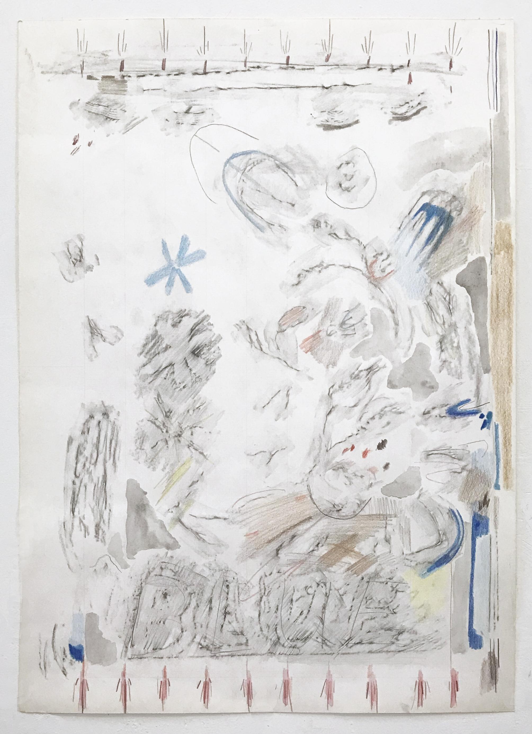 """Blue (Rubbing), 2018  Graphite, colored pencil, ink. 18x24"""""""