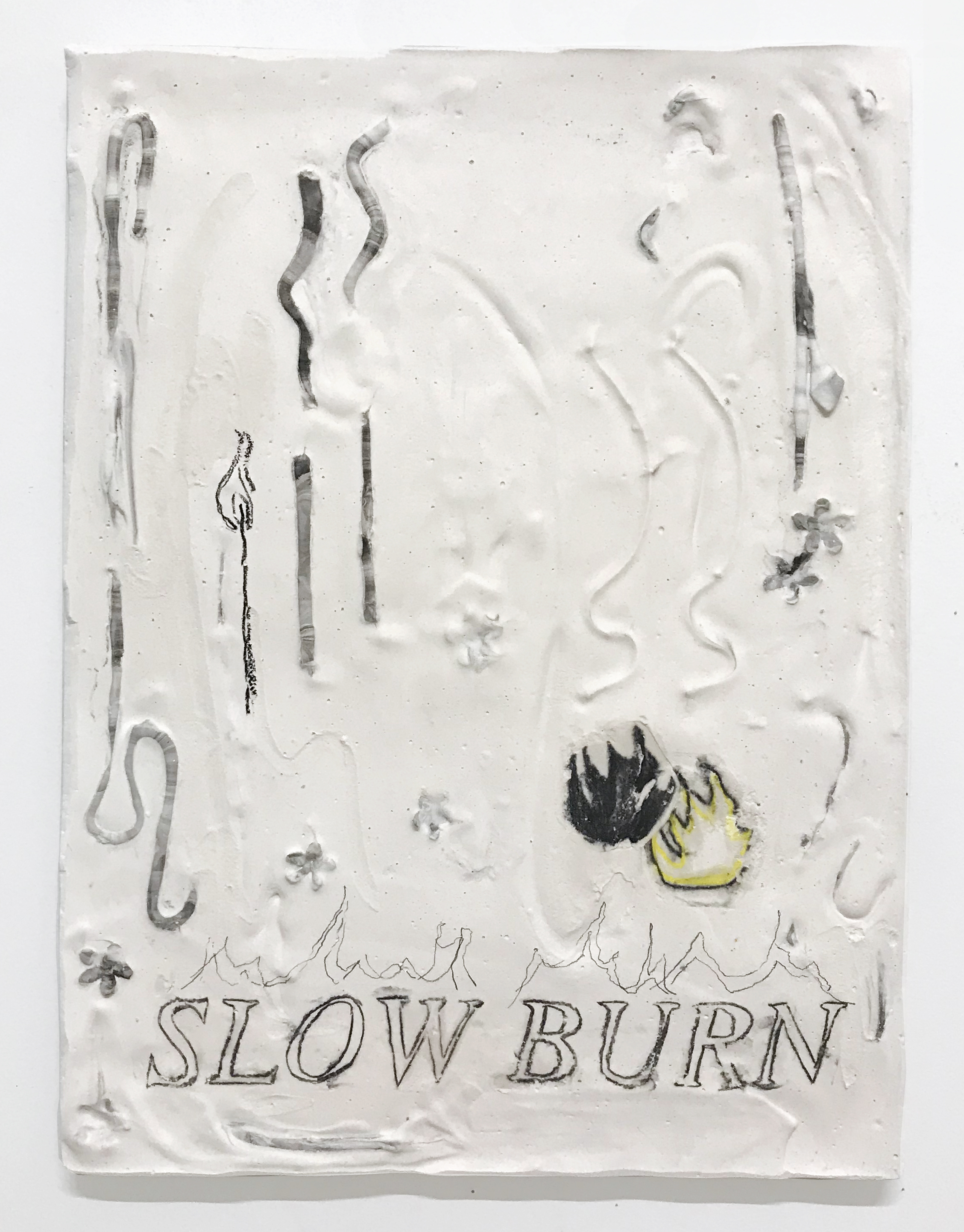Slow burn, 2019  Crayon transfer, graphite, flowers, clay, hydrocal. 12x16""