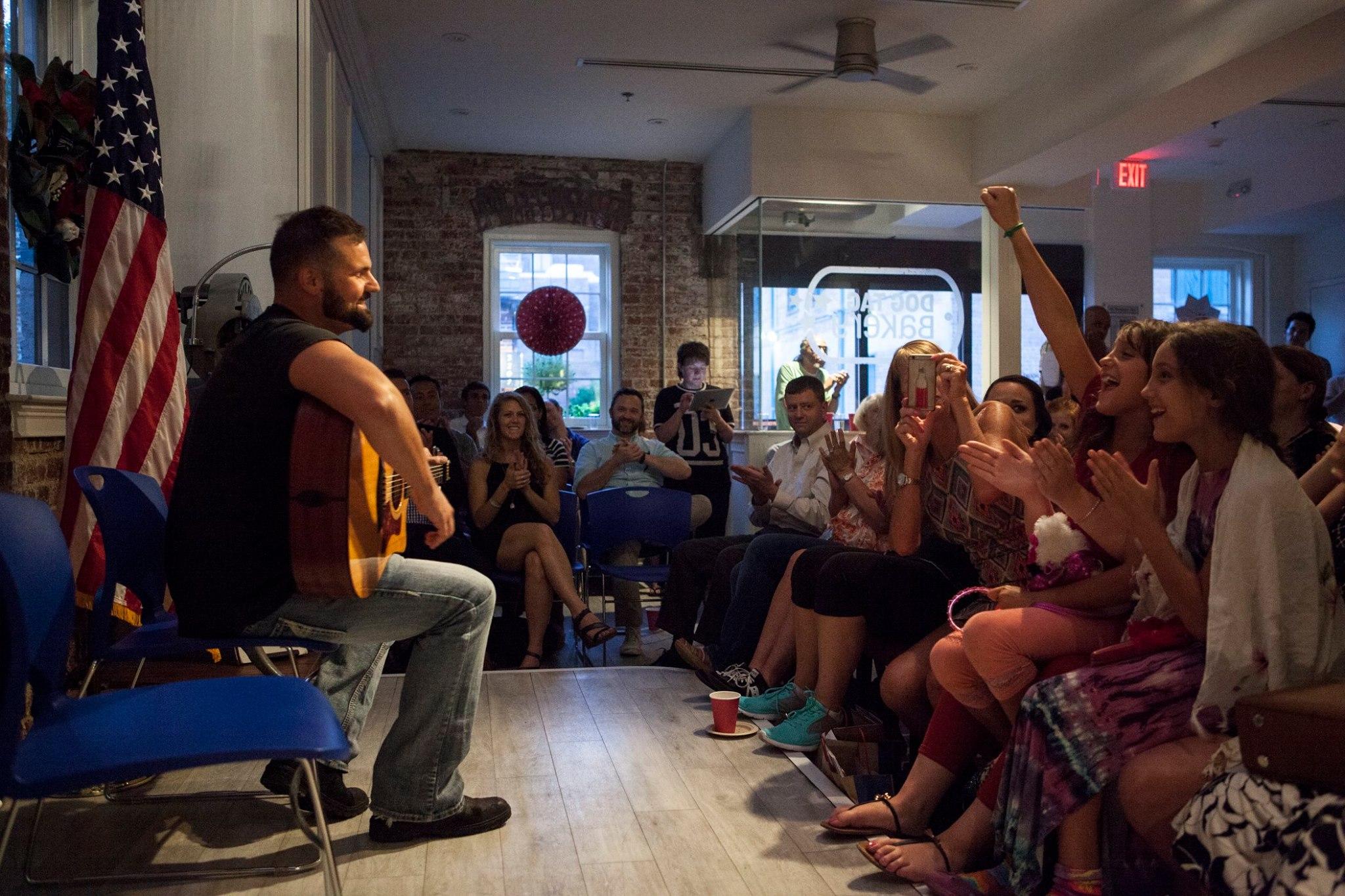 EJ Delpero performs at a Veterans Open Mic in Washington, D.C.