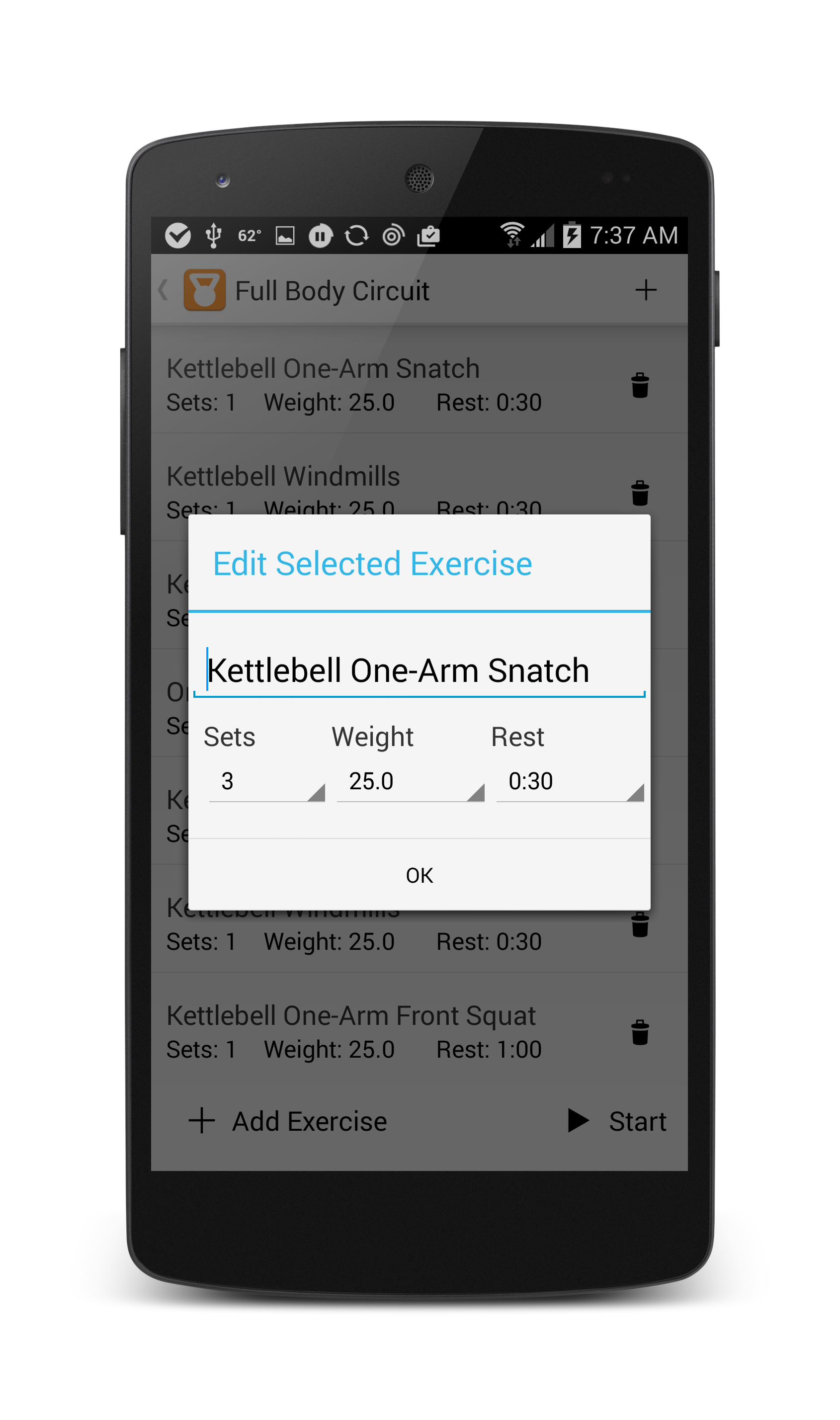 Choose from over 60 of your favorite kettle bell exercises.