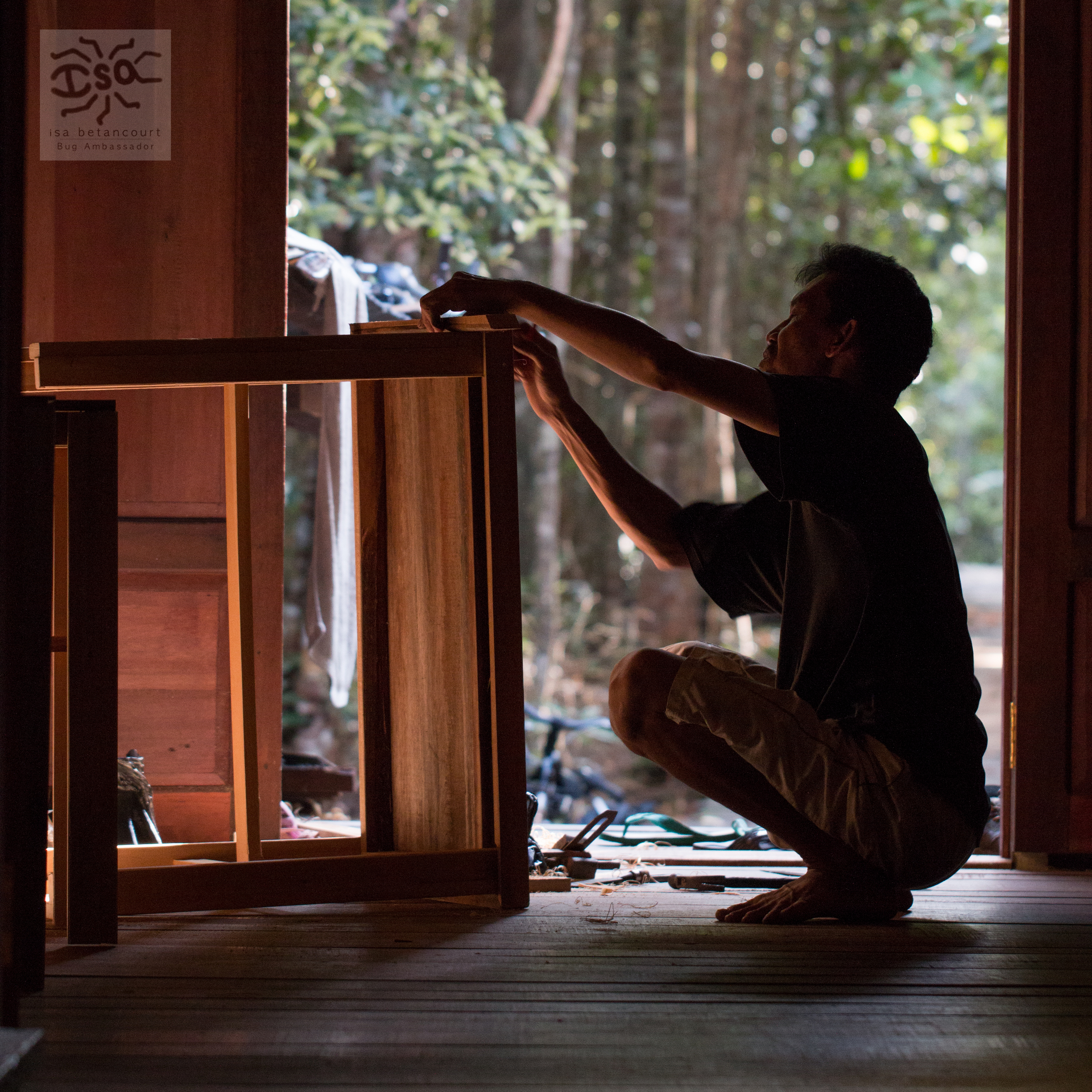 Pak Harley constructs desks for the rooms of the Tuanan Research Camp in Central Kalimantan, Indonesia.