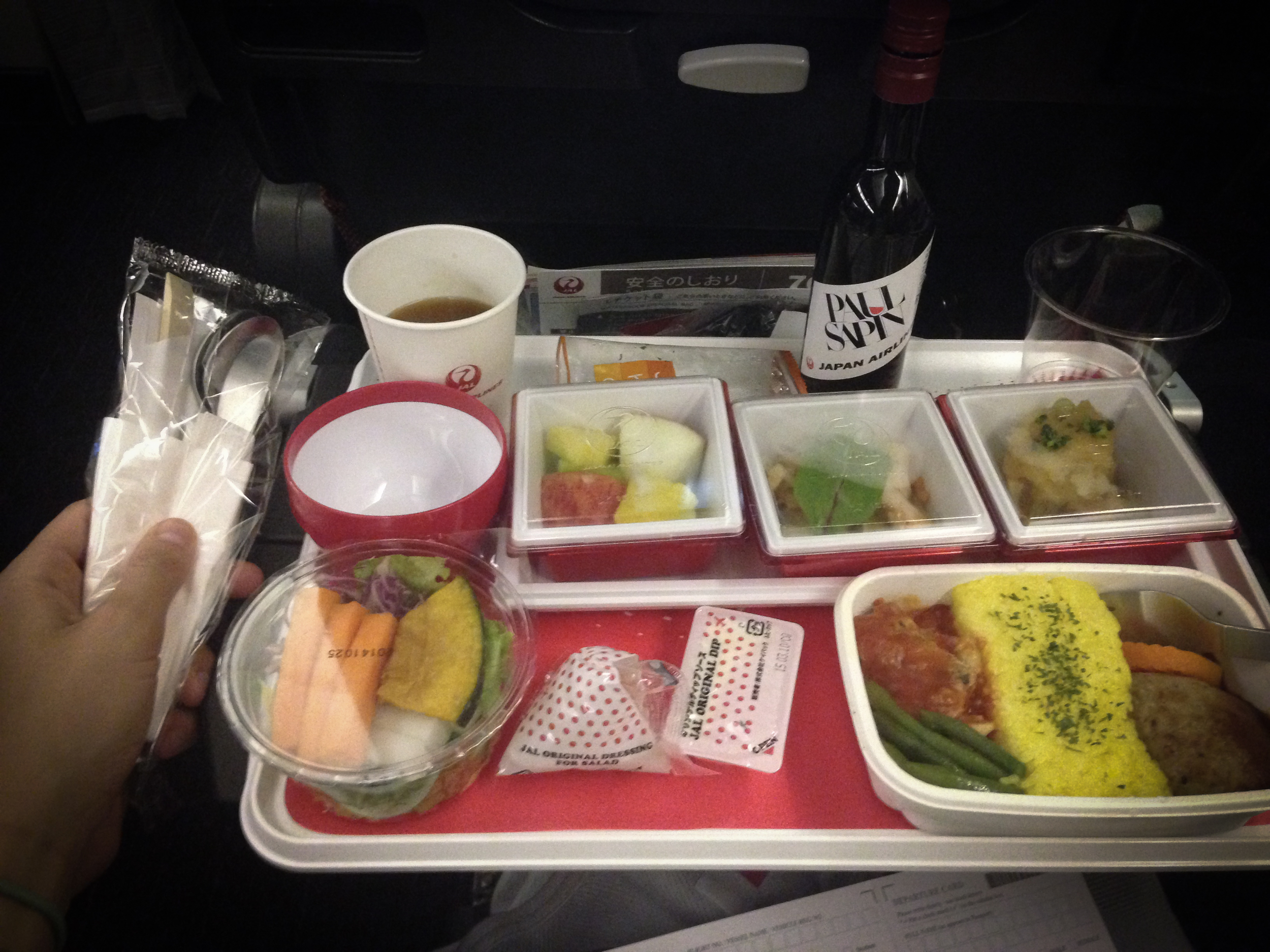 The Japan Airlines food was the best. With metal (not plastic!) utensils and wine!