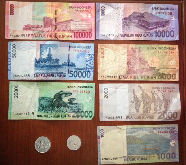 The Currency of Indonesia: Indonesian Rupiah (IDR) About 13000 IDR = $1 USD