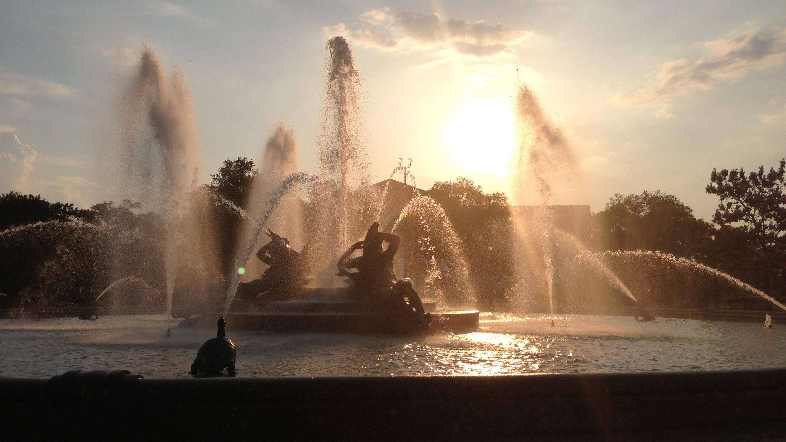 Swann Fountain at Sunset