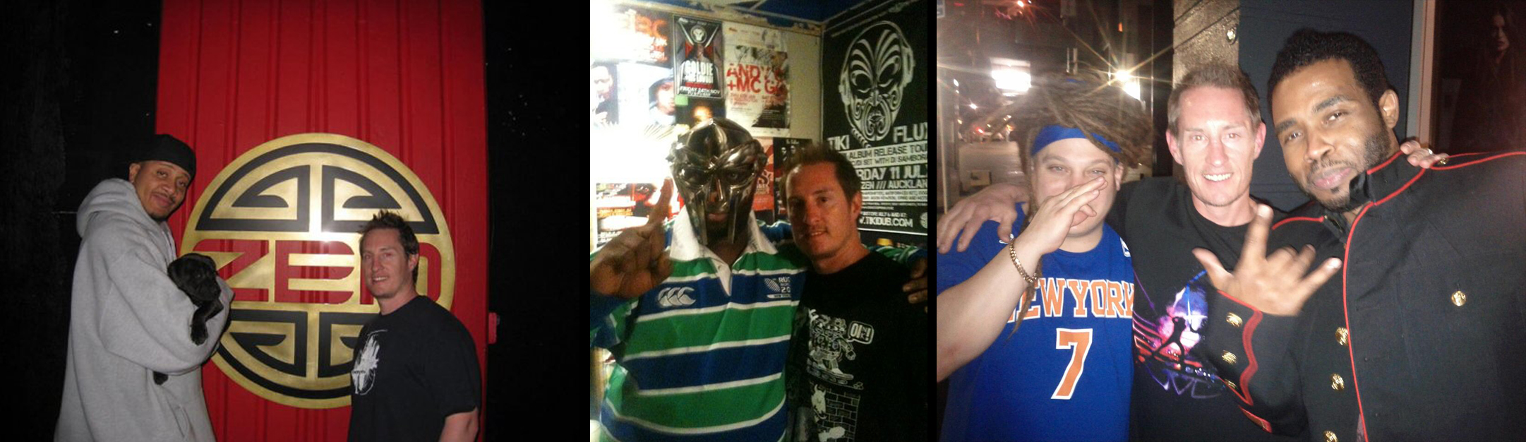 Above from left to right: Gareth with Chali2na, MF DOOM and Pharoah Monch.