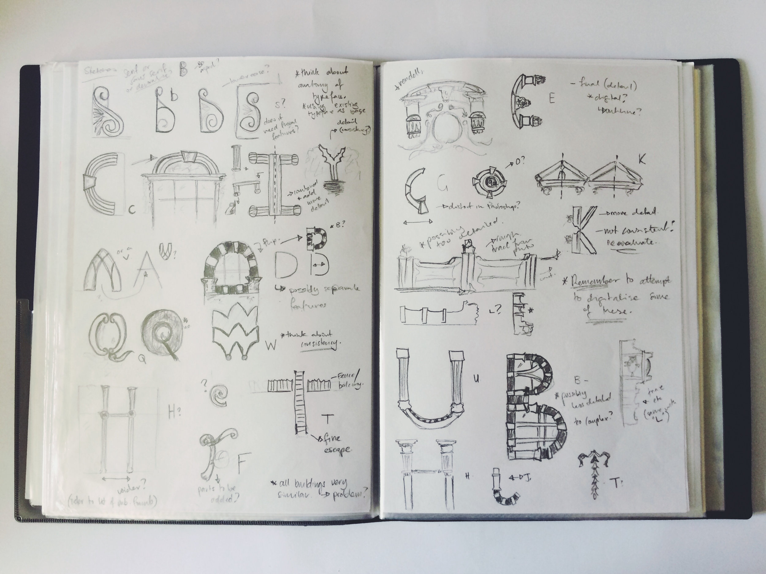 Above: Alisha's sketchbook and research for her 'Architypes' project