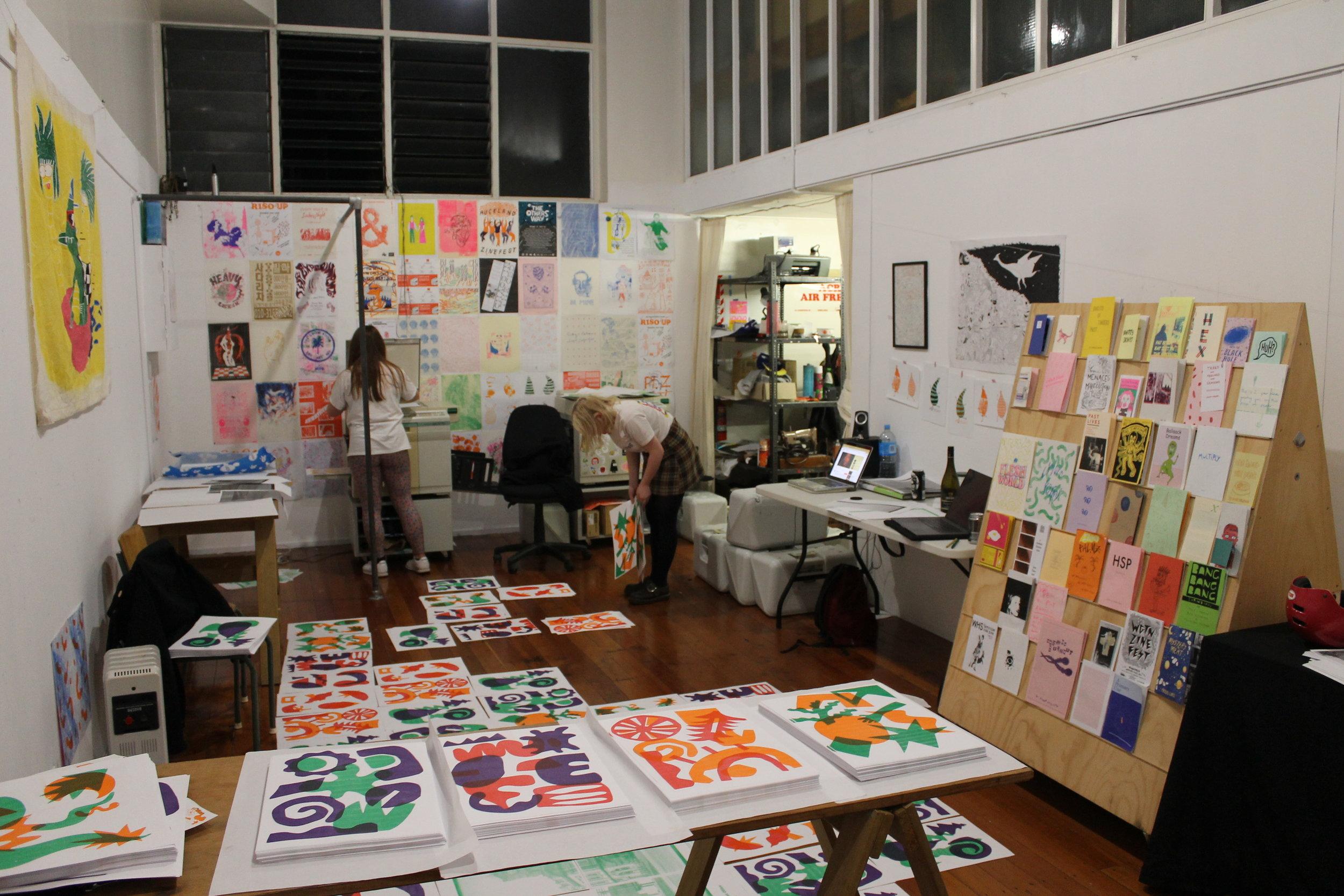 Above: Inky Palms studio, La Gonda Arcade, K Road.
