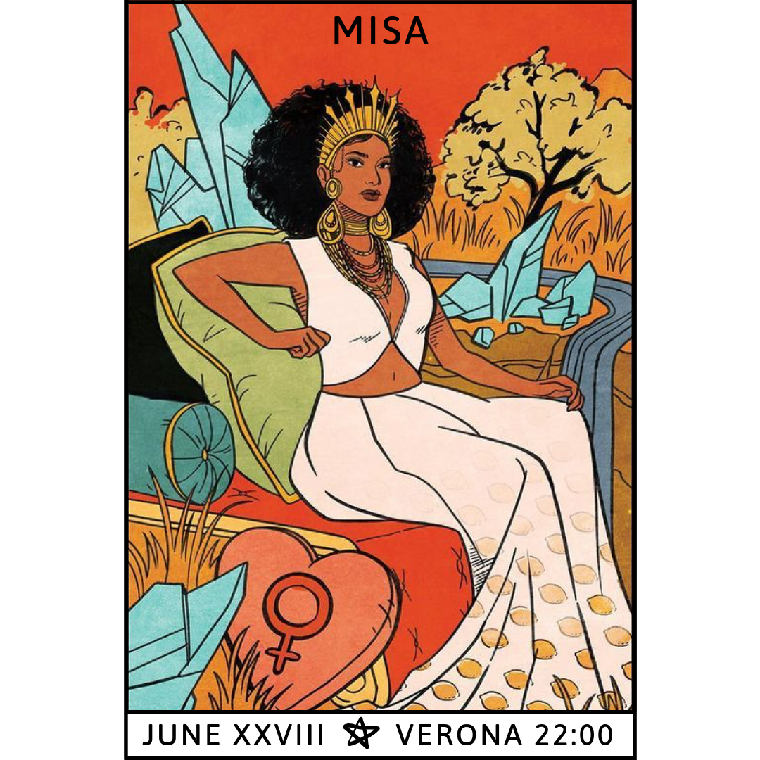Gig poster designed by Misa with tarot illustration by Lisa Sterle