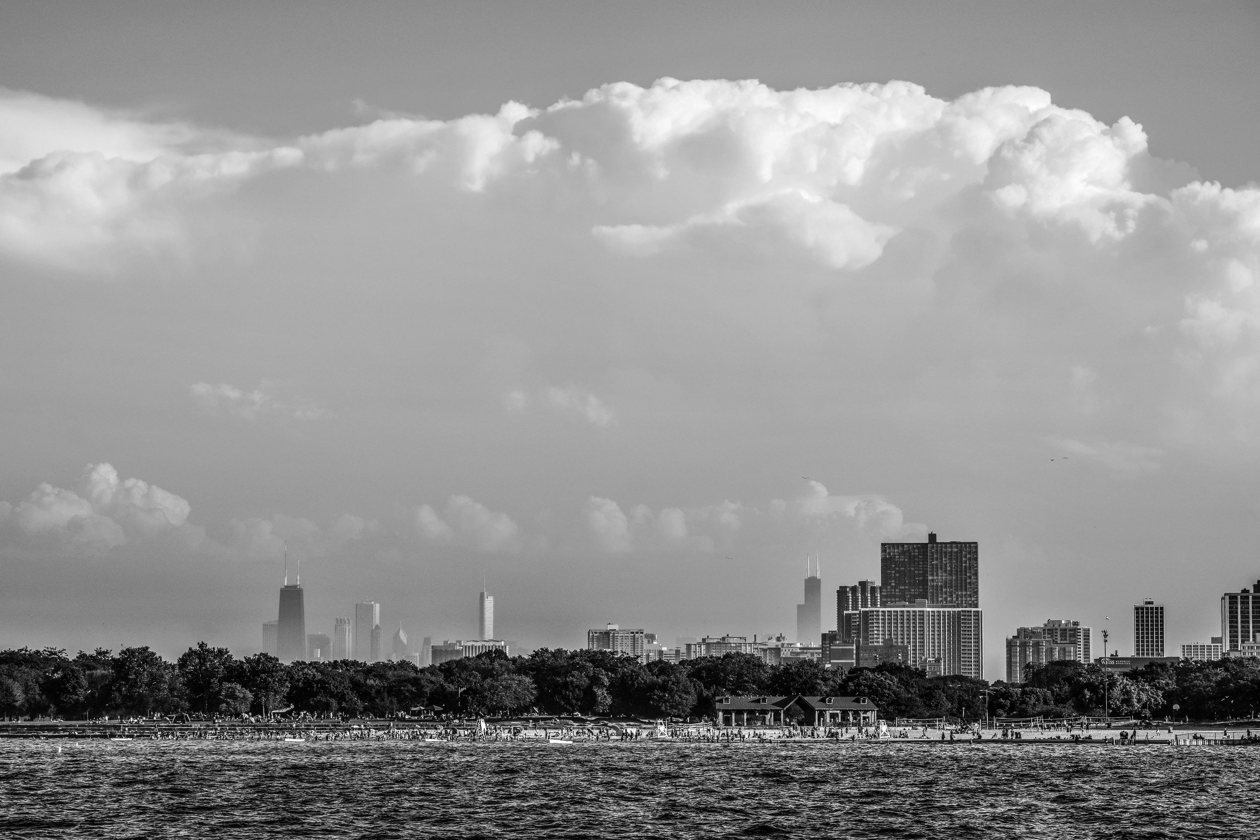 hollywood beach chicago buildings cityscape clouds beach black and white summer skyline .jpg