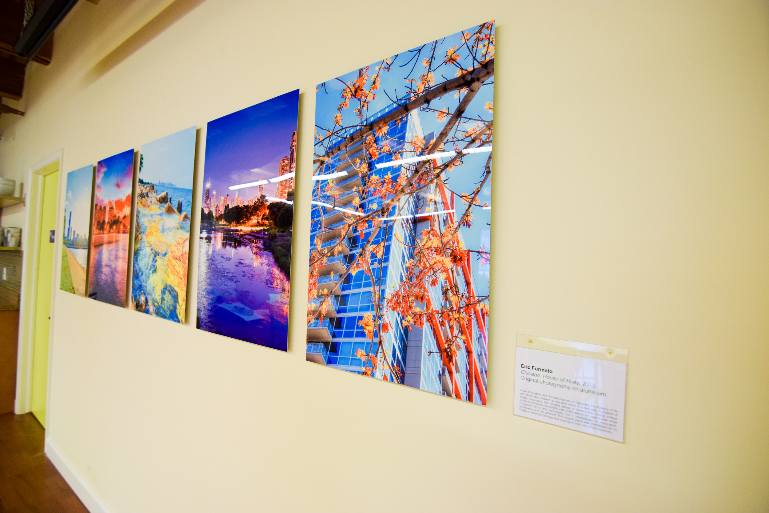 Art is infused onto aluminum metal sheets and bound to backframe