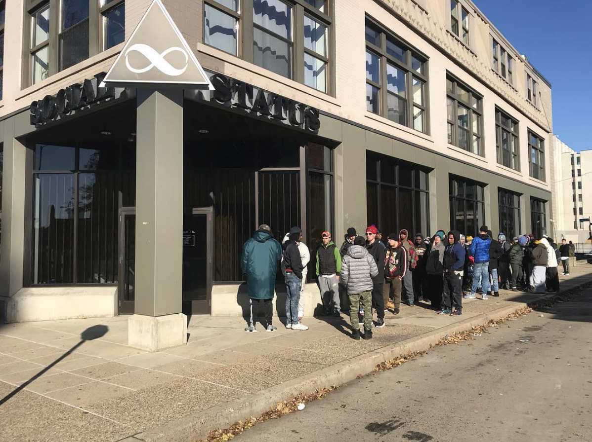 Line of customers waiting for sneaker release via  @mstarafay
