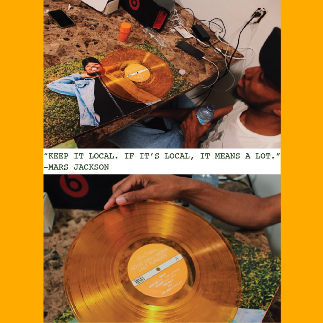 """Mars Jackson with his """"Good Days Never Last Forever"""" vinyl record 
