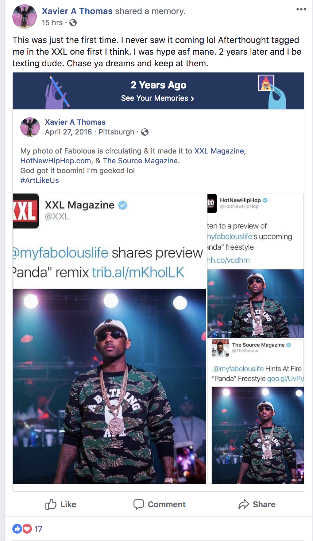 Thomas shared a Facebook memory when prominent publications XXL Magazine, Hot New Hip Hop and The Source Magazine published his photo.