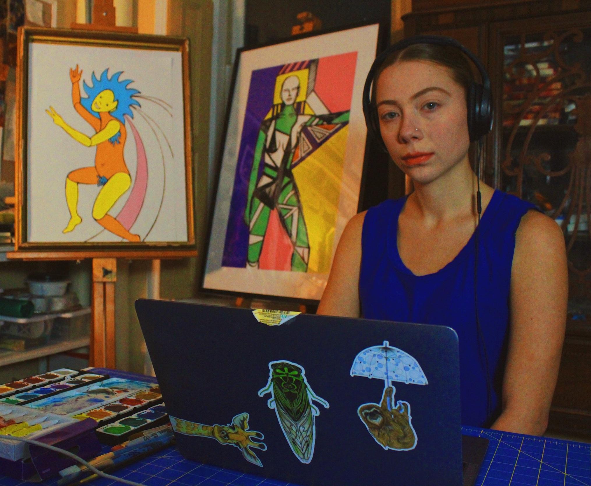 Princess Nostalgia and her artwork of Princess Nostalgia (piece far left) | photo by Alex Young