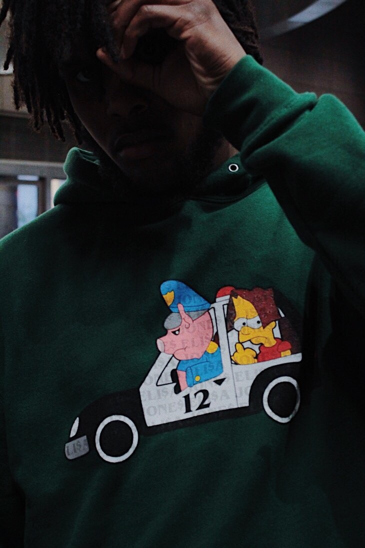 "David Cole wearing the ""Bart 12"" Elisa Jones hoodie 