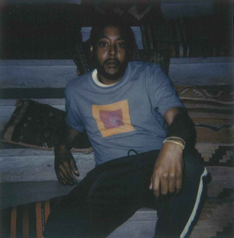 Designer Eric Johnson at Late Bloom Radio broadcast via Full Service Radio at The Line Hotel. Polaroid by Maxwell Young
