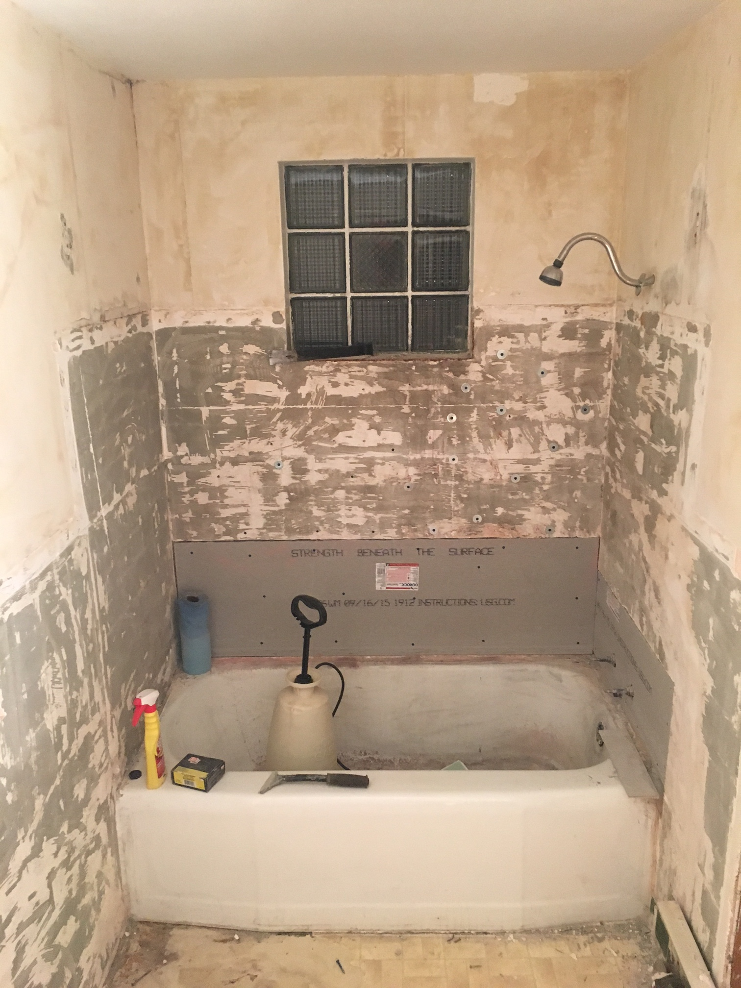On the other side, the king room bathroom got some new Durorock backing to replace some old plaster.