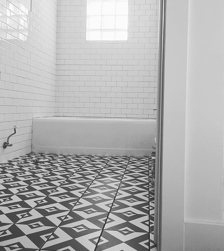 Just after the floor and wall tiles got set (and before grout).  Really happy with how this all turned out as the tile work is one of the larger expenditures in our renovation.