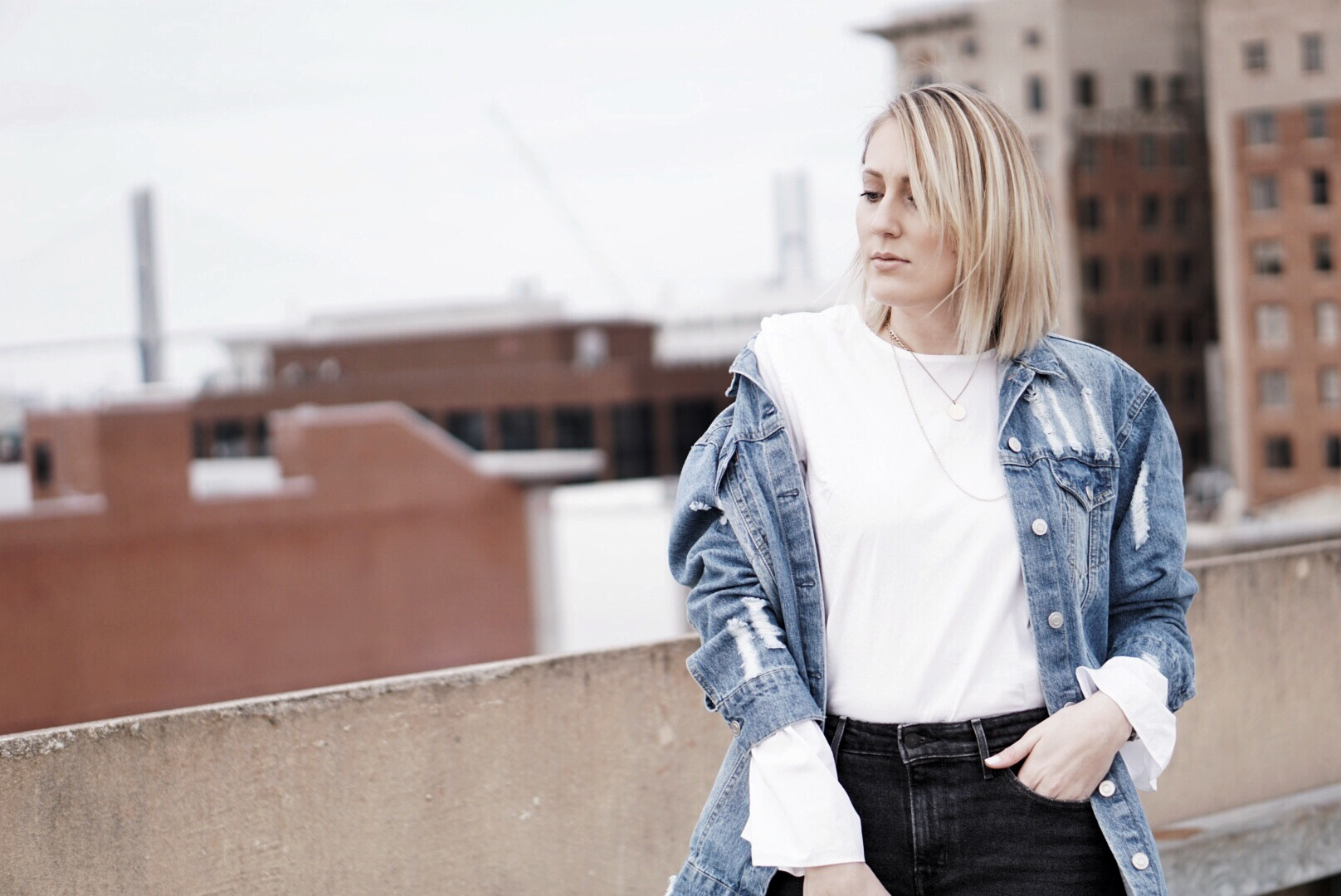 White Bell Sleeve Blouse with Oversized Jean Jacket