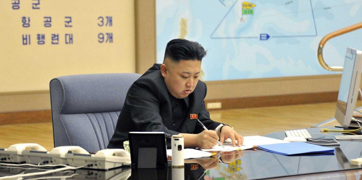Kim Jong-Un with his iMac.
