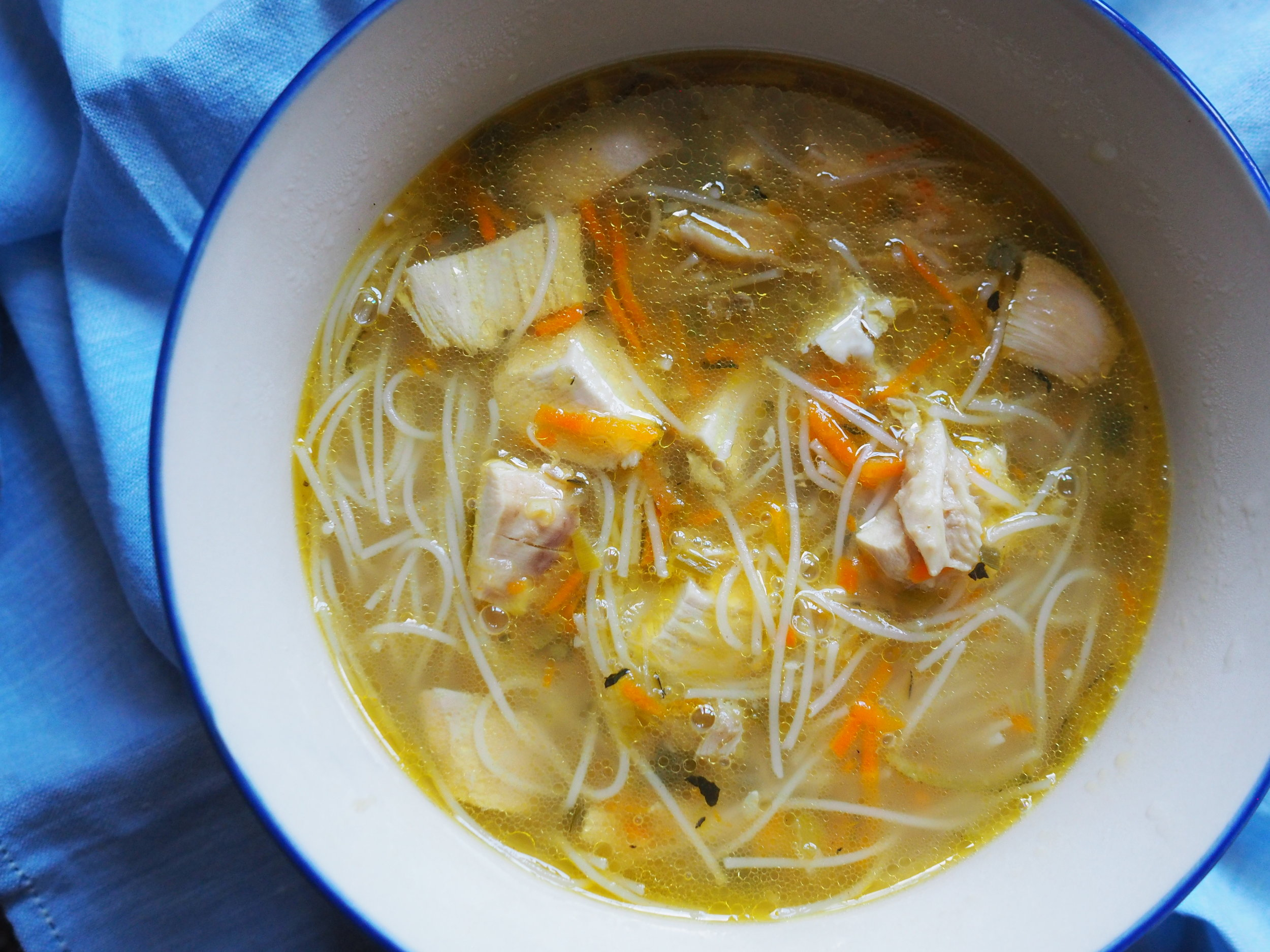 Lemon ginger chicken noodle soup