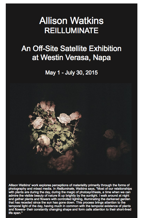 A SELECTION OF PHOTOGRAPHS FROM MY SERIES   REILLUMINATE  WILL BE ON VIEW MAY 1, 2015-JULY 30, 2015 AT THE WESTIN VERASA IN NAPA THROUGH  CHANDRA CERRITO CONTEMPORARY.