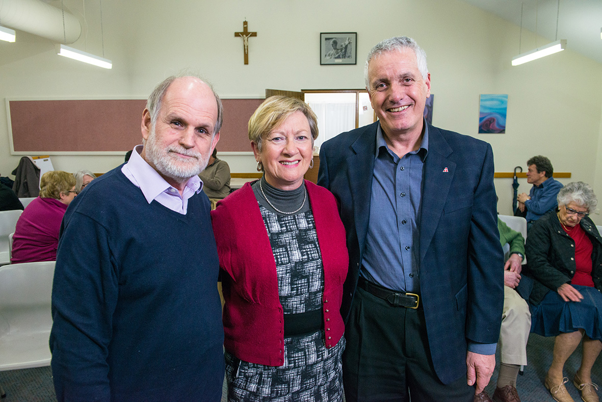 Associate Professor at the Australian Catholic University, Stephen Downs,Executive Officer at South Australian Council of Churches, Geraldine Hawkes, and Director of Mission and Community Engagement at Anglicare SA, Peter Burke at The Monastery.