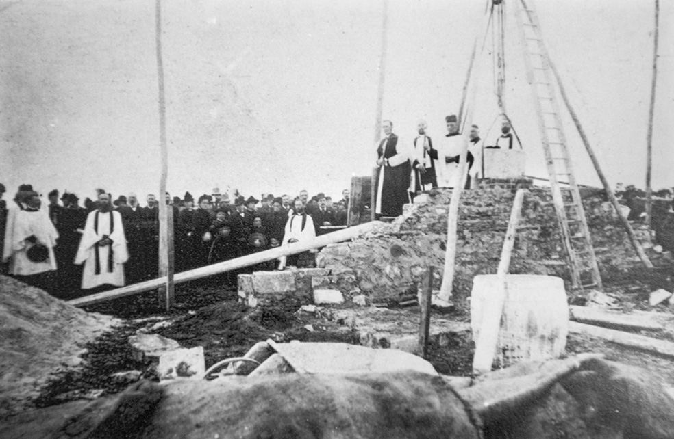 The foundation stone being laid in 1885