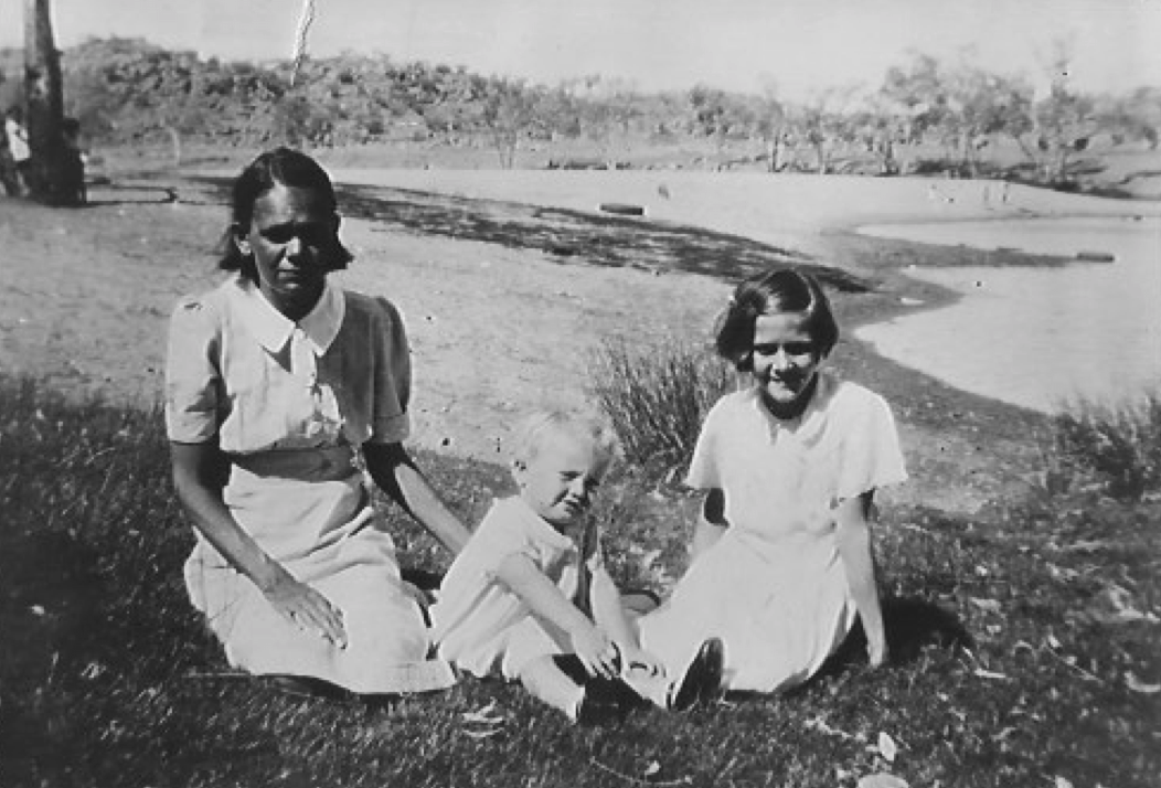 L to R: Bishop Chris' grandmother, Dolly,aunt Sylvia, and my mother, Margaret. The photo was taken on the banks of the Todd River, just outside the 'Telegraph Station', Alice Springs, circa 1942/3.Dolly died of tuberculosis very shortly after this photograph was taken.